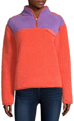 Flirtitude Womens Mock Neck Long Sleeve Sweatshirt Juniors