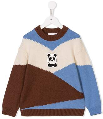 Mini Rodini panda-patch colour block jumper