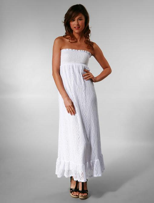 Ella Moss Corsica Full Length Smocked Tube Dress in White