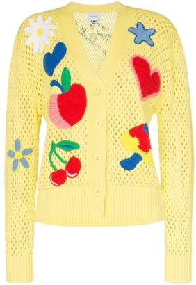 Mira Mikati appliqué patch-detail knitted-cotton cardigan