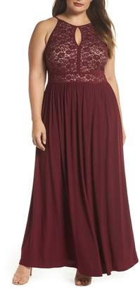 Morgan & Co. Lace Pleated Gown