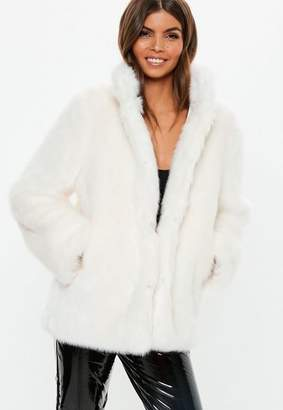 Missguided Stand Collar Faux Fur Coat