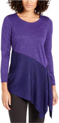 Alfani Asymmetrical Colorblocked Shimmer Top