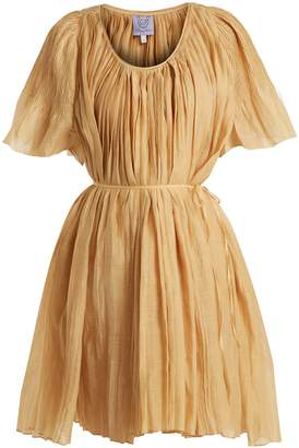 Thierry Colson Sparta pleated cotton and silk-blend dress
