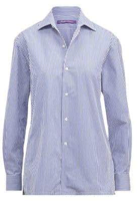 Ralph Lauren Women's Iconic Style Capri Shirt - White Blue - Size 0