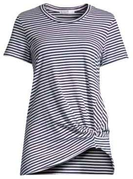 Stateside Women's Knotted Striped Tee - White Blue - Size XS