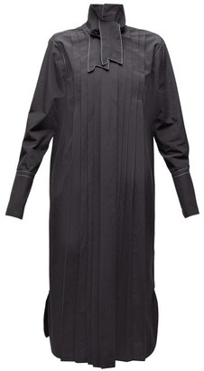 Marni Neck Tie Pleated Cotton Shirtdress - Womens - Black