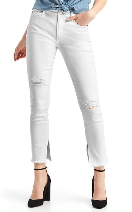 GapMid rise destructed true skinny ankle jeans