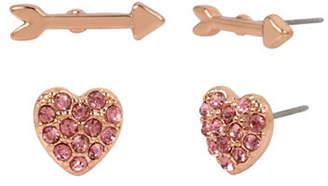 Betsey Johnson Two Heart and Arrow Stud Earrings Set