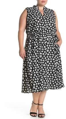 Anne Klein Petal Printed Drawstring Midi Dress (Plus Size)