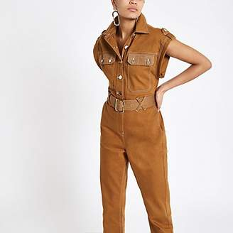 River Island Brown utility boiler jumpsuit