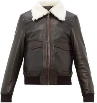 Wales Bonner Shearling Collar Leather Aviator Jacket - Mens - Black Green
