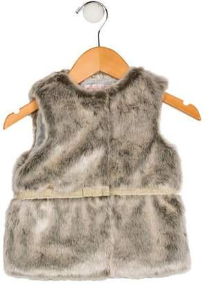 Lili Gaufrette Girls' Faux Fur Metallic-Trimmed Vest