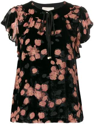 MICHAEL Michael Kors rose print tie neck T-shirt