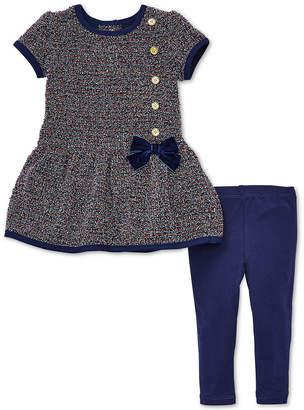 Little Me Baby Girls 2-Pc. Button-Detail Dress & Leggings Set