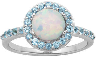 FINE JEWELRY Genuine Swiss Blue Topaz and Lab-Created Opal Halo Ring