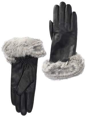 Surell Leather & Genuine Rabbit Fur Gloves
