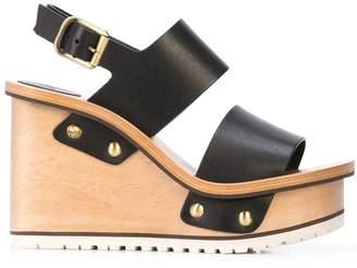 47e77e96c7b Chloé Black Wedge Heel Women's Sandals - ShopStyle