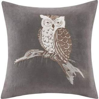 Home Essence Owl Embroidered Suede Square Pillow