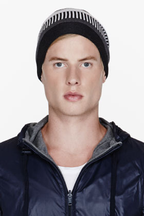 Neil Barrett Grey patterned double-layer merino beanie