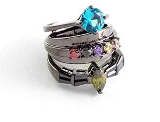 Iosselliani Gunmetal Stacked Ring with Multicolor Stones - Size P