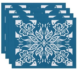 Simply Daisy, 18 x 14 inch, Cuban Tile 3, Geometric Print Placemat (Set of 4), Teal
