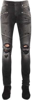 Balmain 15cm Skinny Cotton Denim Jeans