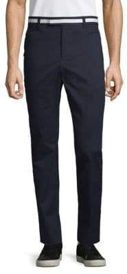 Striped-Waist Skinny Trousers