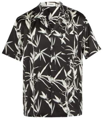 Commas - Bamboo Print Short Sleeved Silk Blend Shirt - Mens - Black Multi