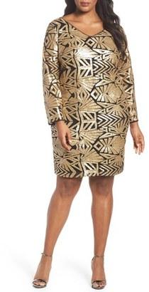 Plus Size Women's Marina V-Neck Sequin Sheath Dress $169 thestylecure.com