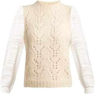 Sea Ellie Contrast Sleeve Pointelle Sweater - Womens - Cream