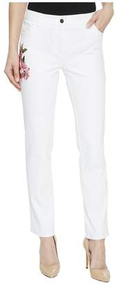 Elliott Lauren Five-Pocket Jeans with Floral Embroidery in White Women's Jeans