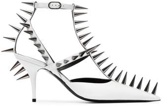 Balenciaga White Knife 80 spike leather pumps