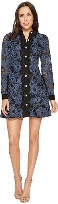 Laundry by Shelli Segal Denim Lace Fit and Flare Women's Dress