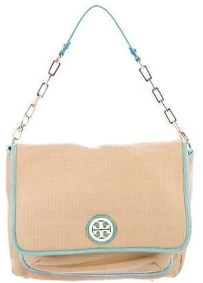 c2d0b9547a1 Tory Burch Leather-Trim Straw Shoulder Bag