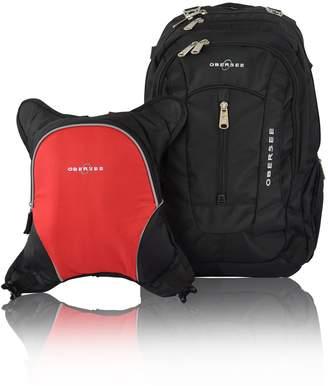 Obersee Bern Diaper Bag Backpack with Detachable Cooler (Black/Orange)