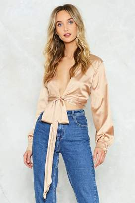 Nasty Gal Tied Trying Satin Blouse