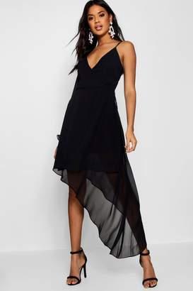 boohoo Boutique Chiffon Asymmetric Wrap Dress