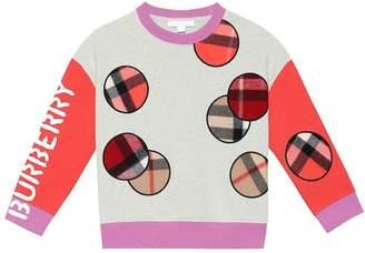 Burberry Check appliqué cotton sweatshirt