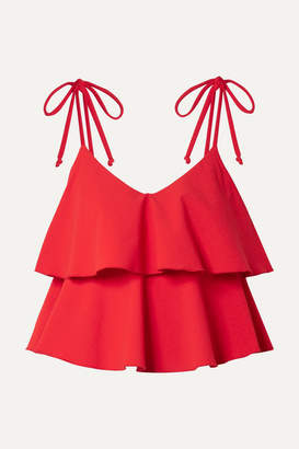 Lisa Marie Fernandez Imaan Ruffled Stretch-crepe Bikini - Tomato red