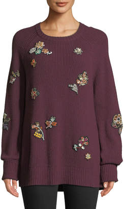 Cinq à Sept Tania Embroidered Scoop-Neck Sweater
