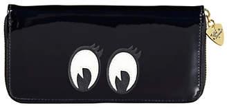 Tatty Devine Cartoon Eyes Zip Around Purse, Black