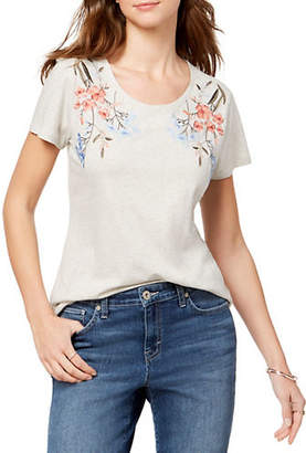 Style&Co. STYLE & CO. Petite Floral Embroidered Cotton Tee