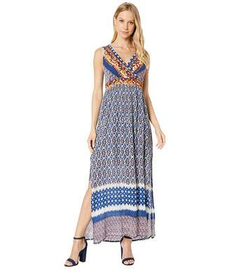Miss Me Geo Print Floral Embroidered Slit Maxi Dress