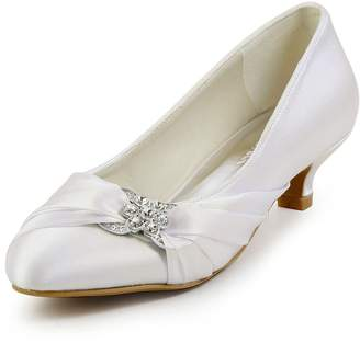 ElegantPark EP2006L Women Comfort Heel Closed Toe Rhinestone Satin Bridal Wedding Shoes US 6.5