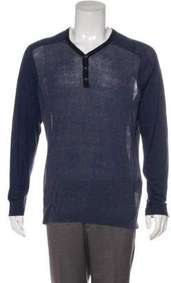 John Varvatos Long Sleeve V-Neck Henley Sweater