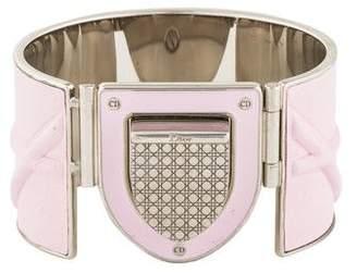 Christian Dior Leather & Enamel Cannage Cuff