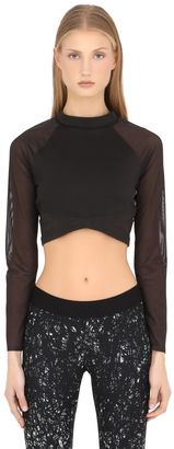 Long Sleeve Microfiber Crop Top $78 thestylecure.com