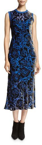 DKNYDKNY Sleeveless Floral Velvet Midi Dress, Blue