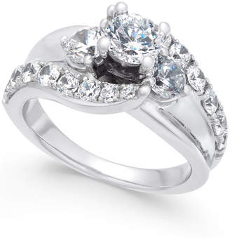 Macy's Diamond Wide Band Engagement Ring (2 ct. t.w.) in 14k White Gold